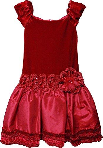 (Isobella & Chloe Little Girls' Red MONET Velvet Taffeta Drop-waist Dress, 4)
