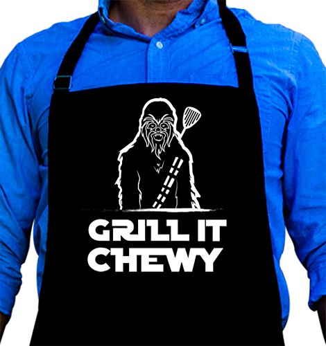 Grill it Chewy Star Wars Apron - Chewbacca Tribute BBQ Grill Apron - 1 Size Fits All Chef Apron Poly/Cotton 4 Utility Pockets, Adjustable Neck and Long Waist Ties