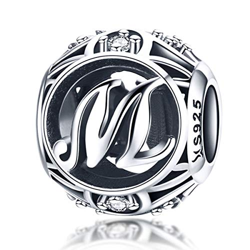 Everbling Vintage Letter M Clear CZ 925 Sterling Silver Bead Fits Pandora Charm - Kays Jewelry Memories Charmed