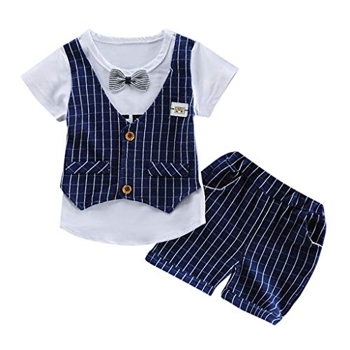 Baby Boys Gentleman Formal Outfits Suits Bow Ties Shirts Vest Pants Toddler Wedding Clothes Sets Dark Blue]()