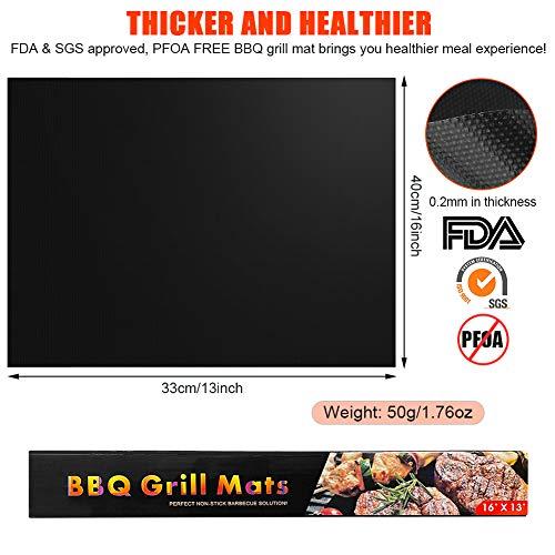 prabensei BBQ Grillmatte 5er Set, Teflon Grillmatten Antihaft & Wiederverwendbar, Barbecue Grill Matte Backmatte für bis 260°C, geeignet für Holzkohlegrill, elektronischen Grill, Backofen 40x33 CM