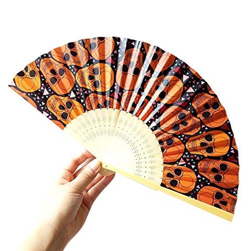 Amandaz Home Wholesale Hand Fan Kids Humor Cooling Fan Halloween Pumpkin Skull Spider Witch Hand Carved Bamboo Folding Fan Style Wooden -