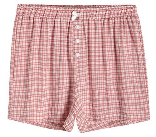 Latuza Women's Sleepwear Cotton Plaid Pajama Boxer Shorts XL Brick - Boxer Large Shorts Cotton