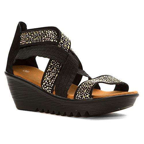 V-Luxury Womens 15-SALLY3 Almond Toe High Heel Mary Jane Platform Stiletto Pumps