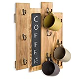 MyGift 9-Hook Torched Wood Wall-Mounted Coffee Mug Rack with Chalkboard