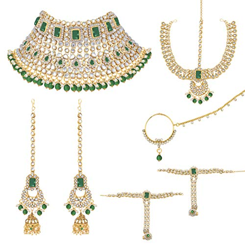 Aheli Indian Traditional Bridal Choker Necklace Matha Patti Nose Ring Haath Phool Earrings Bollywood Jewelry (Green)]()