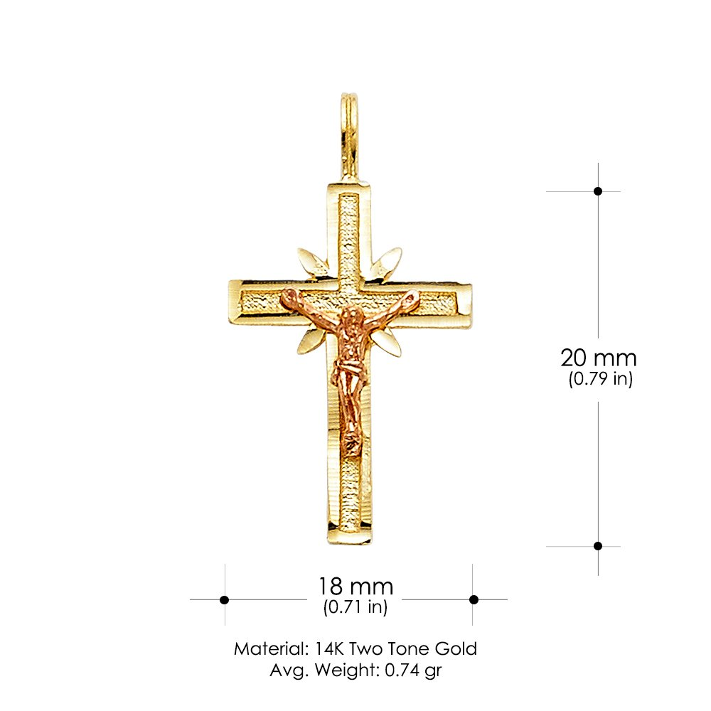 14K Two Tone Gold Crucifix Charm Pendant with 1.5mm Flat Open Wheat Chain Necklace