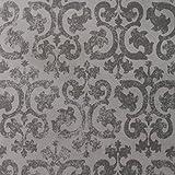 3dRose LLC 8 x 8 x 0.25 Inches Grunge Gray Damask Wallpaper Fancy Swirling Pattern Mouse Pad (mp_151434_1)