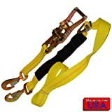 SecureMyCargo 2'' Ratchet Axle Strap Twist Hook/Twist Hook 8' Yellow