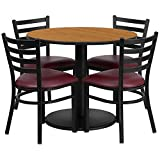 Dyersburg 5pcs Table Set Round 36'' Natural Laminate, Burgundy Vinyl Chair