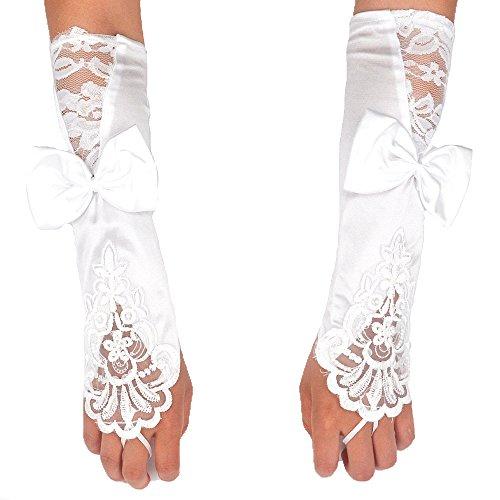 I EN FR Long Lace Fingerless Rhinestone Bridal Gloves for Wedding Party One Size (White) Rhinestone Bridal Gloves