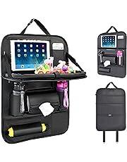 Rückenlehnenschutz Auto, Autositzschoner Rückenlehne Kinder Auto-Organizer mit Faltbares iPad-Tablet-Halter, Tablett Multi-Pocket Sitzschoner