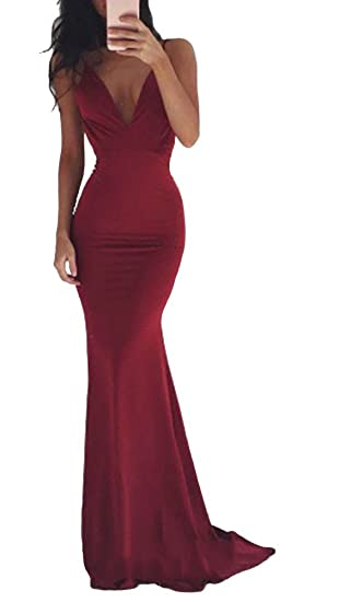 41c4e514850 JessykaRobyn The Nevaeh Deep V Open Back Mermaid Gown Cherry Red at ...