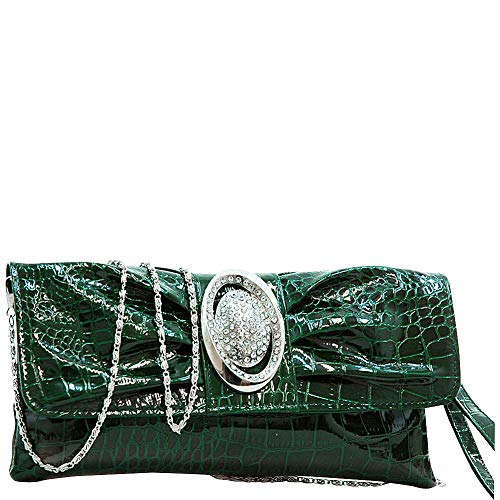 (Dasein Pleated Front Clutch Purse with Metal Ornament (Green))