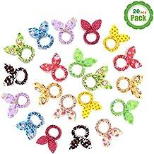 TS 20 PCS Cute Girls Rabbit Ear Hair Tie Bands Ropes Ponytail Holder (20PCS...