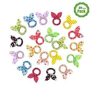 TS 20 PCS Cute Girls Rabbit Ear Hair Tie Bands Ropes Ponytail Holder (20PCS Rabbit Ear)