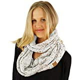 CC Confetti Soft Chunky Pullover Knit Long Loop Infinity Hood Cowl Scarf Ivory