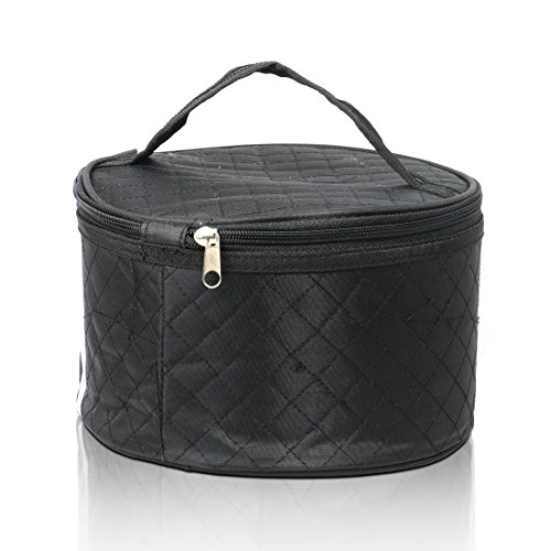 Travel Case for Wigs, Black Quilted Nylon with Interior Mirror, Zipper, Double Stitching, Lightweight & Portable Wig Pouch by Adolfo (Wavy Round Tip Black Nylon)