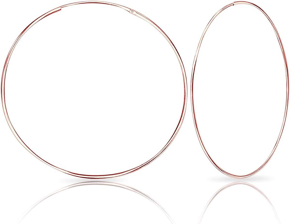 35 60 50 40 DTPsilver 70 Boucles doreilles Cr/éoles en Argent Fin 925 et Plaqu/é Or Rose Diam/ètre 30 80 mm /Épaisseur 1.2 mm