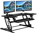 VIVO Black Height Adjustable 36'' Stand up Desk Converter | Quick Sit to Stand Tabletop Monitor Riser (DESK-V000V)