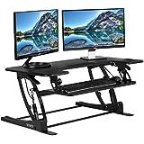 VIVO Black Height Adjustable 36' Stand up Desk Converter | Quick Sit to Stand Tabletop Dual Monitor Riser (DESK-V000V)