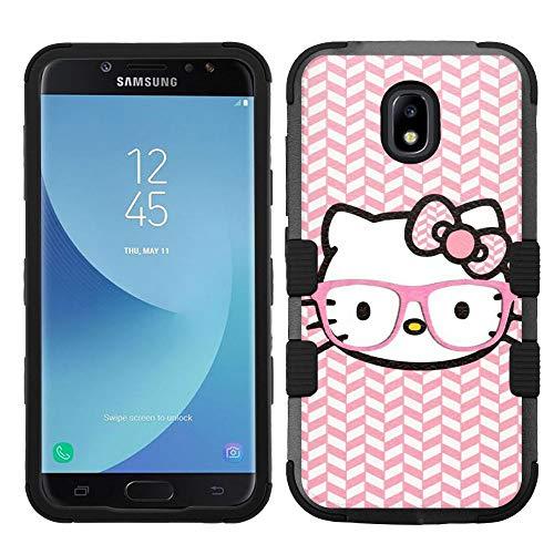 (for Galaxy J7 Crown, J7 Refine, J7 Star, J7V 2nd Gen. SM-J737, Hard+Rubber Hybrid Rugged Impact Cover Case - Hello Kitty #Chevron )