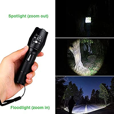 VASTFIRE Zoomable AR 15 Flashlight Single 1 Mode Picatinny Weaver Rail Mounted Flashlights With 45° Offset Mount Dual Function Pressure Switch For Ar-15 Rifle Shotgun