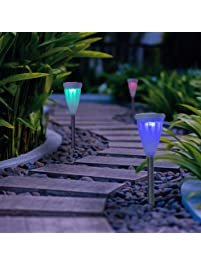 GIGALUMI Color Changing Solar Lights Outdoor Garden Led Light Landscape / Pathway  Lights For Lawn