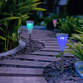 GIGALUMI Color Changing Solar Lights Outdoor Garden Led Light Landscape /  Pathway Lights For Lawn,Patio,Yard,Walkway,Driveway,Pathway,Garden,Landscape 6  ...
