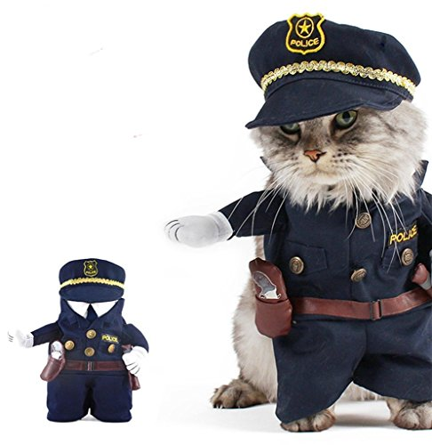 PetBoBo Pet Dog Cat Halloween Costume Policeman Costume Dog Jeans Clothes Cat Funny Apperal M