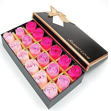 EchoAcc® Preserved Rose Scented Bath Soap Rose in Gift Box, 18PCS (Rose)