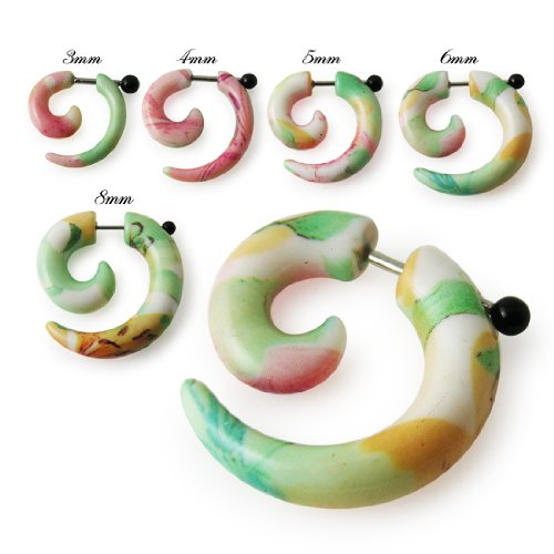 UV Fancy Flowers Spiral Fake Ear Plug Body jewelry