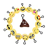 Emoji Mini Plush Pillows, 15 Pack Novelty Toys Kids Party Supplies Favors, Keychain Decorations Best Kids Gift (15 Pack 1+Yellow)
