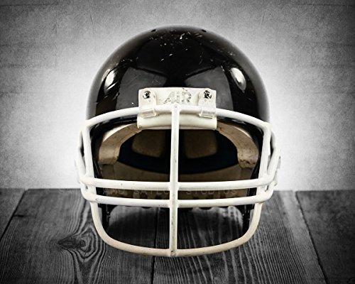 Vintage Black Football Helmet Facing on Vintage Background Fine Art Photography Print, Football Photo, Football Wall art, vintage football room decor