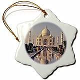 3dRose orn_75432_1 India, Uttar Pradesh, Agra, Taj Mahal AS10 RER0032 Ric Ergenbright Snowflake Porcelain Ornament, 3-Inch