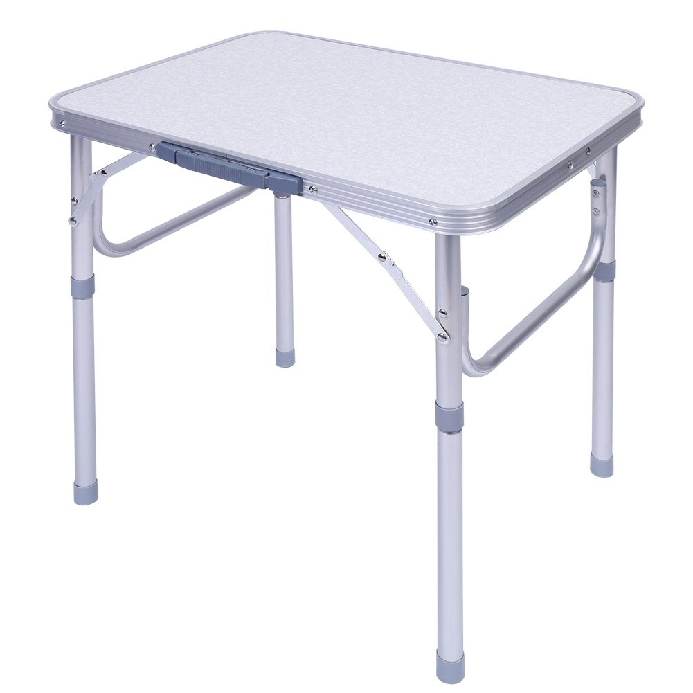 GOTOTOP Folding Table, Aluminum Alloy Adjustable Folding Desk for Outdoor Garden Camping Picnic