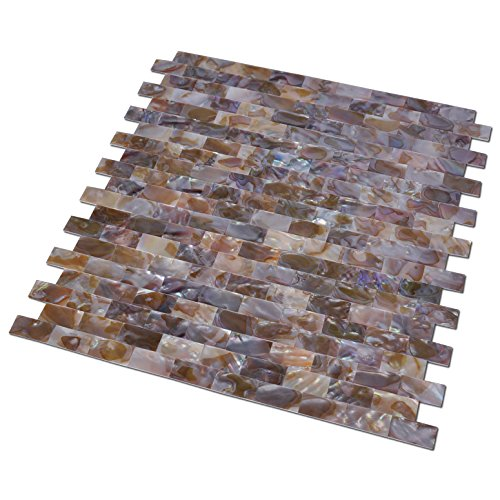 Art3d Natural Mother of Pearl Oyster Mini Brick Shell Mosaic Tile for Kitchen Backsplashes 10 Sq Ft Pack of 10 by Art3d (Image #3)