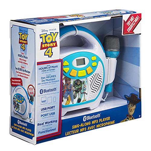Toy Story 4 Bluetooth Sing Along Portable MP3 Player Real Working Microphone Stores Up To 16 Hours of Music with 1 GB Built In Memory USB Port To Expand Your Content Built In Rechargeable Batteries by eKids (Image #6)