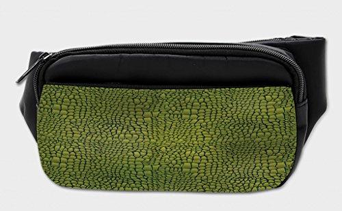 Lunarable Alligator Bumbag, Graphic Art Reptile Skin, Fanny Pack Hip Waist Bag