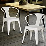 Homebeez Metal Dining Chair with Arms, Set of 2 (White)