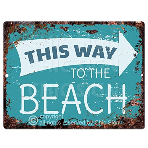 - This Way To The Beach Tropical Sign Rustic Vintage Retro Kitchen Bar Pub Wall Decor 9