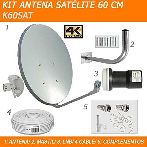 KIT COMPLETO ANTENA PARABÓLICA 60 CM. INDICADA PARA MOVISTAR + y ASTRA. ANTENA+MASTIL+LNB+CABLE+SUJECIONES