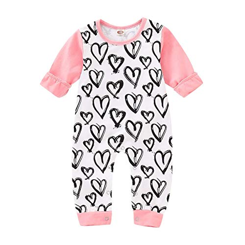 Infant Baby Girl Romper Long Sleeve Heart Print Outfits Onesie Jumpsuit Winter Clothes 3-6 Months