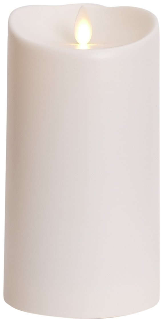 Luminara Outdoor Flameless Candle: Plastic Finish, Unscented Moving Flame Candle with Timer 7'',Ivory, cream