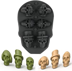 3D Skull Ice Mold Tray- Food Grade Silicone Ice Trays Ice Cubes Maker with Lids Reusable Durable and BPA Free, Makes 6 Cute Skulls in 1 for Whiskey, Cocktails, Vodka and Juice Beverages (Black)