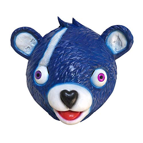 Donsane Halloween Costume Bear Game Mask Party Game Latex Animal Full Head Mask Cuddle Team Leader (Blue), Medium ()