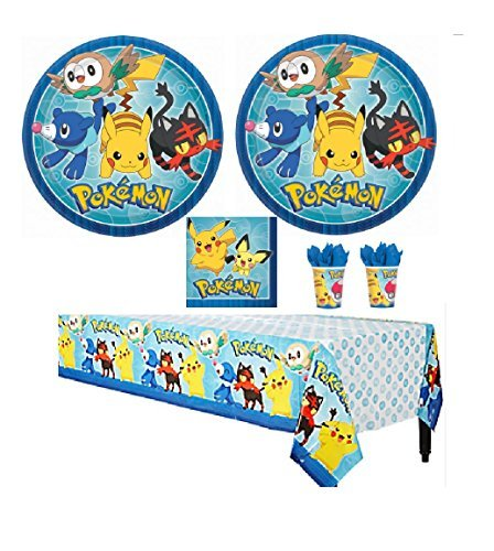 Pokemon Core Party Supply Kit Pack Bundle - 16 Guests Plates, Cups, Napkins, Tablecovers -