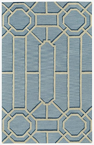 Capel Rugs Williamsburg Ironworks Rectangle Hand Tufted Area Rug, 5' x 8', Pale Blue ()