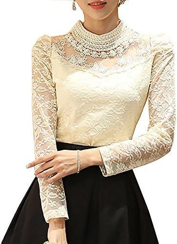 ShallGood Mujer Camisa Manga Larga Encaje Ganchillo Floral Blusas Gasa Casual Básico Color Puro Slim Fit Solapa Camisa Elegante Lace Top Blusa Suelta: Amazon.es: Ropa y accesorios