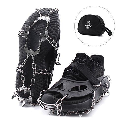 THREEMAO Ice & Snow Cleats Crampon,Ice Grippers,Anti Slip 19 Stainless Steel Microspikes Crampons for Outdoor Sports Hiking ,Winter Waliking, Mountaineering with Storage Bag